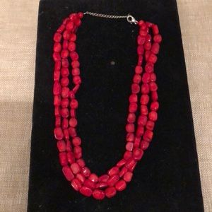 Jewelry - Red Coral triple-strand necklace, Sterling clasp